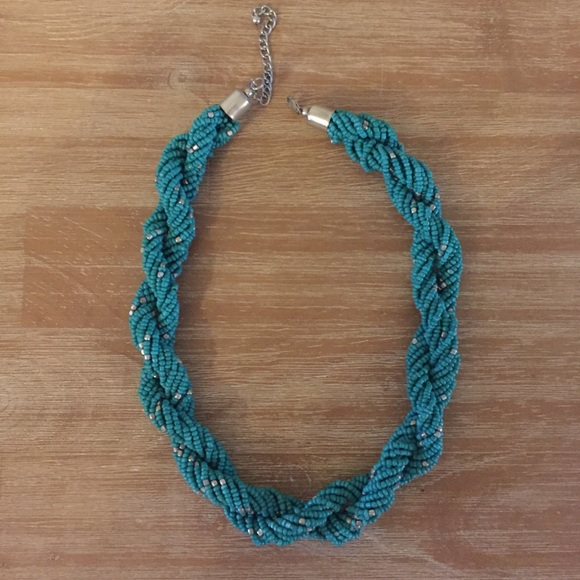 H&M Teal Beaded Braided Necklace